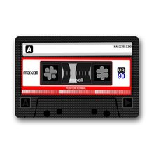Retro Fashion Funny Decoractive Cassette Tape Machine Washable Fabric & Non-slip Rubber Backing Indoor Doormat Floor Mat
