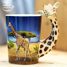 2016 New Arrival High Quality 3D Solid Animal Giraffe Cup Hand-painted Ceramic Coffee Tea Milk Mug Creative Cute Birthday Gift(China)