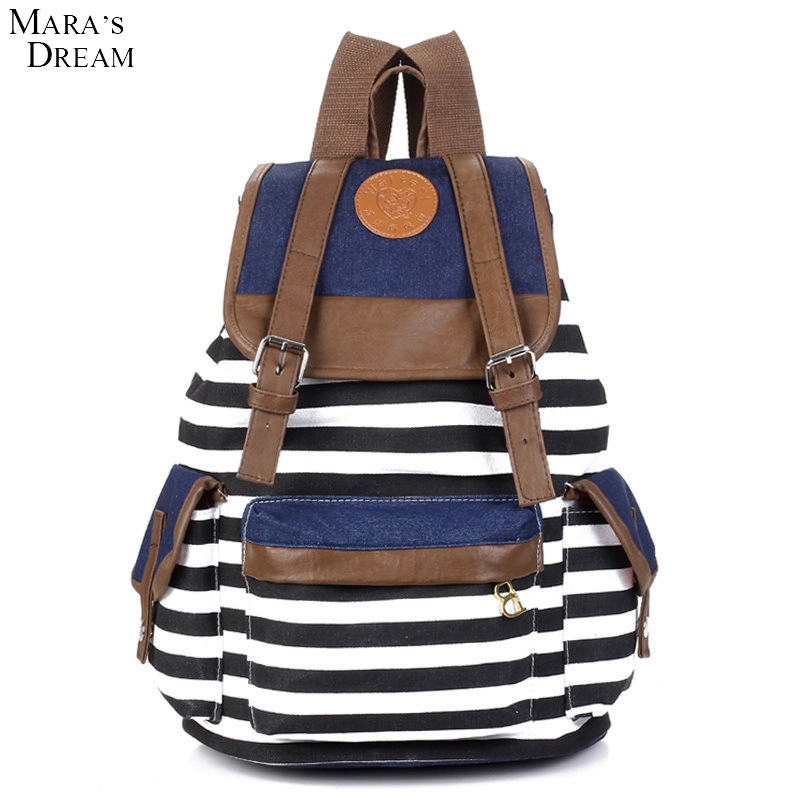 Maras Dream Hotsale Cheap Products Women Girl Striped Canvas Backpack Leisure Backpacks For Teenagers Travel Rucksack<br><br>Aliexpress