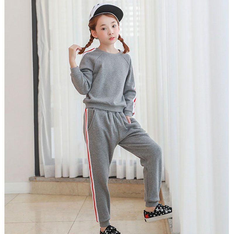 fleece big girl clothes set autumn winter childrens sports suits long sleeve sweatshirts and long pants clothing sets girl 2017<br>