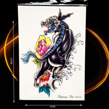 1PC Large Animal Tattoo Waterproof Chest Back Decals Black Fierce Beast Design Temporary Arm Tattoo Sticker Wall Stickers HHB679