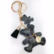 Leather Cute Bear Tassel Style Purse Handbag Key Phone Chain Keyring Gift BLK