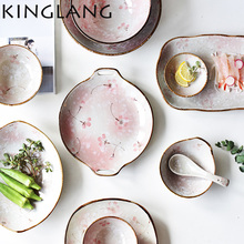 KINGLANG romantic sakura Japanese creative ceramic dinner set plate with handle high quality round sushi dish plate(China)