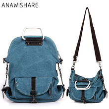 ANAWISHARE Fashion Women Canvas Handbags Large Shoulder School Bags For Teenagers Girls Crossbody Messenger Bags Ladies Tote