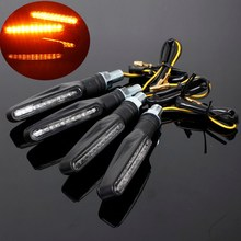 4pcs Universal Motorcycle Flasher Bike 12 LED Turn Signal Light Indicator Blinkers Amber Black For Honda For Suzuki