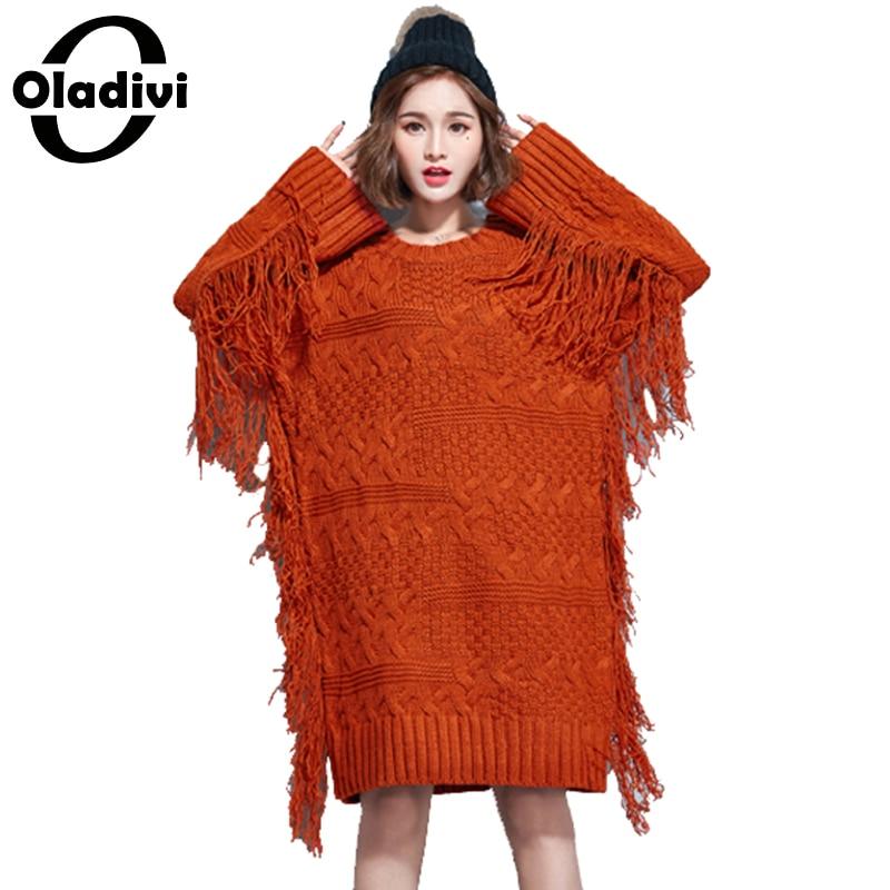 Oladivi Plus Size Sweater Dress Fashion Women knitted resses Ladies Casual Loose Top Tunic Female Knitwear Freely Tassel DressÎäåæäà è àêñåññóàðû<br><br>