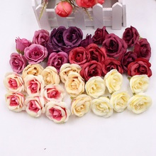 10pcs 4cm Silk Rose Artificial Flower Wedding Home Furnishings DIY Wreath Sheets Handicrafts Simulation Cheap Fake Flowers(China)