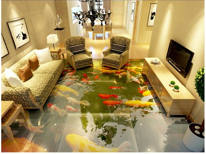 3d photo wallpaper custom 3d flooring painting wallpaper murals 3 d Chinese wind floor painting underwater koi fish 3d wallpaper<br>