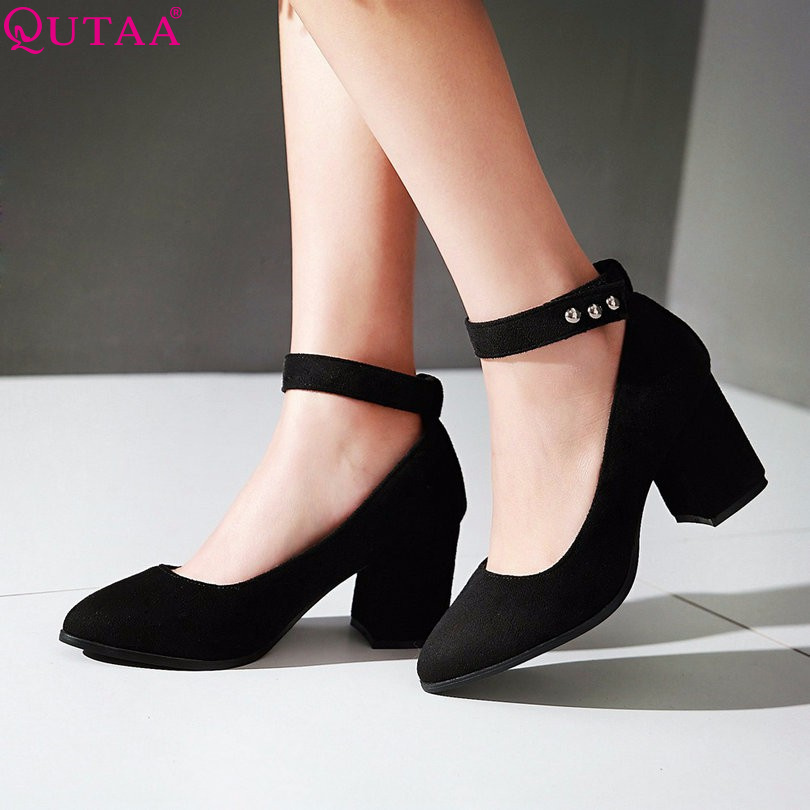 QUTAA Scrub Ladies Shoes Woman Shoes Ankle Strap Square High Heel Rivet Woman Pumps Pointed Toe Women Wedding Shoe Size 34-43<br><br>Aliexpress