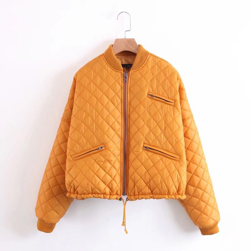 2017 Euro Style Solid Rhomboids Women Cotton-padded Coat Jacket Casual Stand Collar Zipper Pockets Drawstring Jackets OuterwearÎäåæäà è àêñåññóàðû<br><br>
