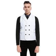 3 Solid Color Double-Breasted Men Suit Vest Slim Wedding Waistcoats Classic Turndown Collar Striped Vest Casual White Gilet(China)