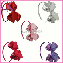 10pcs/lot Sequin Hairband Handmade Solid Grosgrain Bows with Glitter Sequins Hair Bows Headbands For Girls()