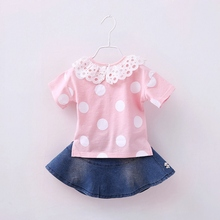 Children's Kids Girls Infant Baby Dot Polka Lace Tops T-shirt +Denim Jeans Beaded Tutu Skirt Princess Clothing Sets Suits S2952