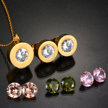 New Arrival 316L Stainless Steel Jewelry Set 4 Color CZ Crystal Stone Interchangeable Gold Pated Necklace Earring For Women