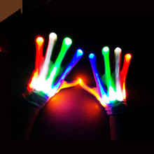 1 Pair Glow LED Finger lighting Gloves Halloween decoration for adults event party supply