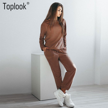 Toplook 2017 Casual Womens Tracksuit Sets Winter Two Piece Sets Brown Long Sleeve Sweatshirt And Long Pants TrackSuits(China)