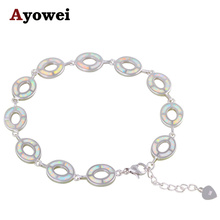 High Quality White Fire Opal Charm Bracelets Silver Stamped Wholesale&Retail Lowest Cost Fashion Jewelry for Ladies OB067A(China)