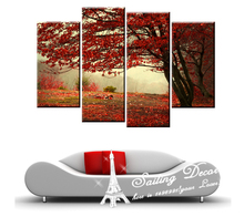 4PCS/a set Big Size Red Tree Red Leaves Favorite Color In Heart Christmas Wall Pictures Art Painting Printed On Canvas