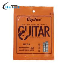 Orphee NX35 Nylon Classical Guitar Strings 6pcs Full Set Replacement (.028-.045) Nylon Core Silver Jacketed Wire Hard Tension