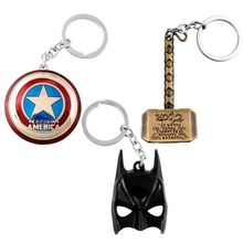 The Avengers Marvel Character Captain America Shield Thor Hammers Hulk Batman Mask KeyChain Keyrings Toy Action Toy Figures