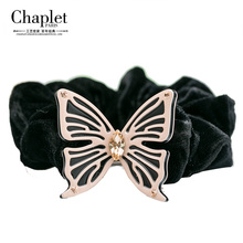 Chaplet 2016 Elegant Women Hair Accessories Rope Butterfly Elastic Hair Band Girl Rubber Band Rhinestone Hair Ring Free Shipping(China)