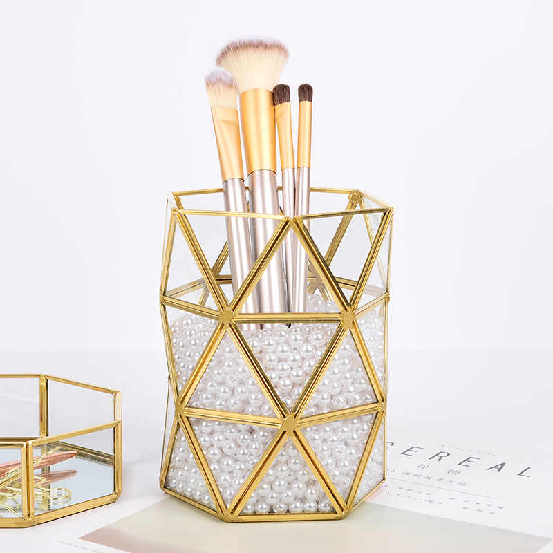 Desktop Display Metal frame Glass Surface Storage Holder Makeup Brushes Pen Bottle Box for Office Home Decor