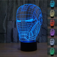 Super Hero Avengers Toys Iron Man Mask Light up Toys Captain America 3D LED Lamp Best Child Gift Kids Toy