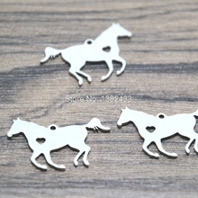 5pcs running horse Charms silver tone horse heart charm pendant  28x17mm