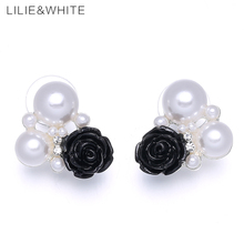 LILIE&WHITE 2017 Imitation Pearls And Black Rose Flower Stud Earrings For Women Jewelry Acrylic Earrings Girlfriend Gift HH(China)