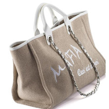 Free shipping Women's favorite C&C beach bag shopping bag luxury style women's beach canvas chain bag(China)