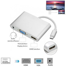 3 in 1 USB 3.1 Type C to HDMI+VGA+3.5mm Audio Female Adapter 1080P Video Switcher HDMI VGA Adaptor For Macbook Computer Laptop(China)