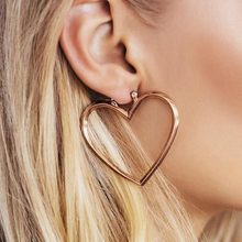 F.J4U 2017 Hot Hoop Earrings Fashion Sweet golden Silver Tone Open Big Heart DIY Earring Hoops for women Accessories Bijoux