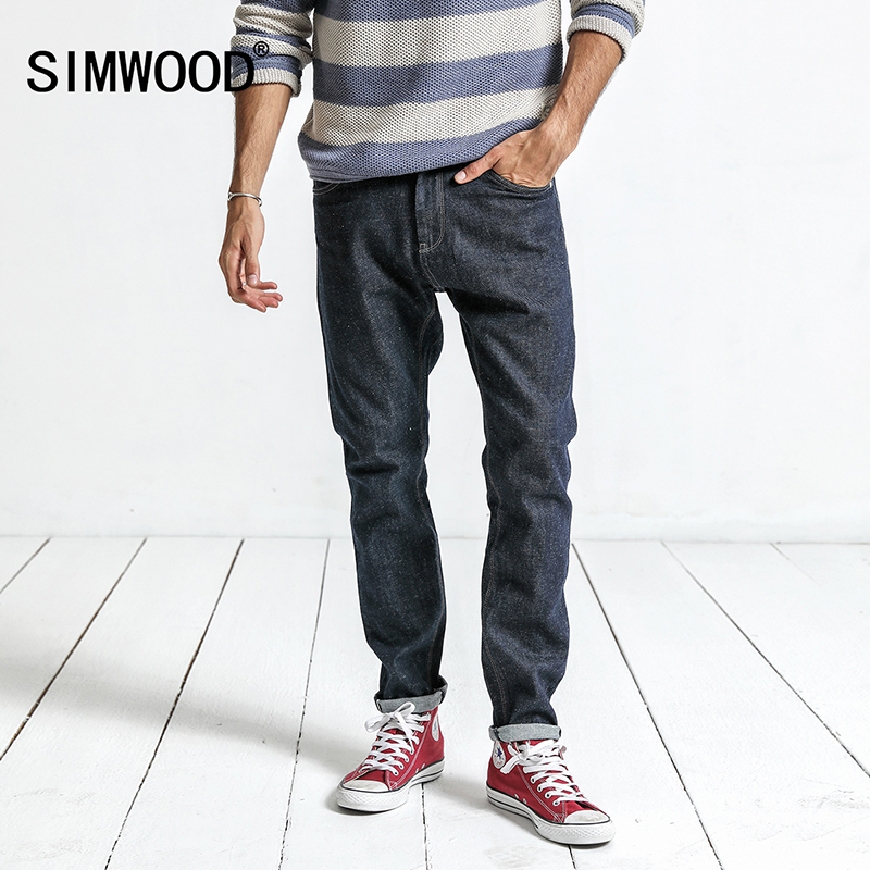 SIMWOOD 2017 New Arrival Mens Jeans Autumn Hot sale Denim Classic Jeans Slim Regular dark blue Casual Plus Size Pants NC017019Îäåæäà è àêñåññóàðû<br><br>