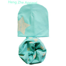 2017 new one star print cotton boys girls baby kids hats+scarf two piece sets winter spring warm wear collars &beanies cute cap(China)