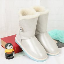 High quality new winter snow boots 100% Australian natural sheepskin boots leather shoes warm boot wholesale FREE SHIPPING(China)