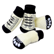 4pcs Pet Dog Sneakers Shoelace Pattern Non-slip Socks Cartoon  Paws Cover Shoes S M L XL