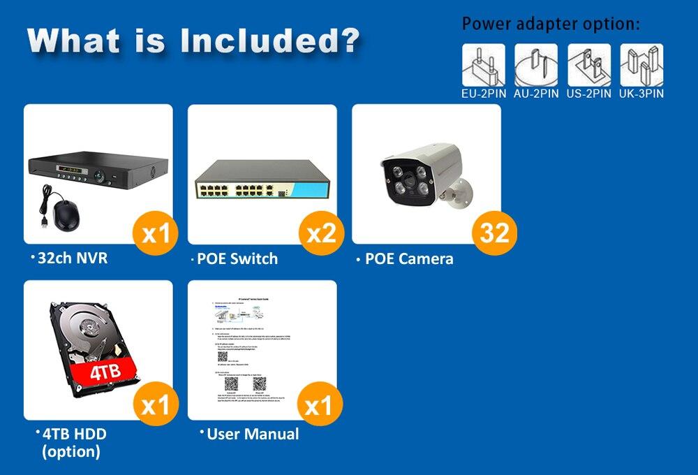 960P 32ch security system poe ip camera system surveillance camera system K32N8332W54I2X 7 -1