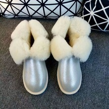 2016 new Australia women fashion snow boots three stripe sheep skin high quality snow boots