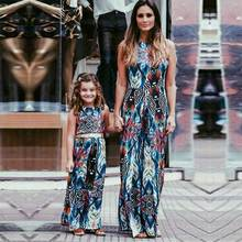 2017 Family Matching Outfits Mother And Daughter Sun Dresses Baby Girls Printed Clothes For Kids Parents Summer Look Wholesale(China)
