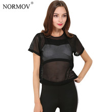 NORMOV S-L 2 Colors Summer Black Mesh T Shirt Women O-neck Solid Crop Tops Casual Hollow Out Perspective Black T-shirt Tops