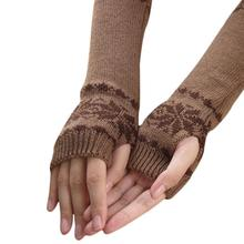 Mittens Women's Winter Long Gloves Snowflake Print Warm Knit Gloves Guantes Mujer iGlove Women Fingerless Gloves Mitts Wholesale