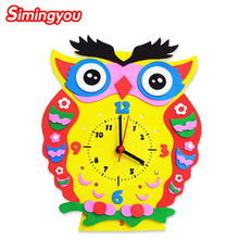 Simingyou 3D Puzzle Cartoon EVA Animal Clock Kids Baby Wooden Toys DIY Arts Crafts DIY Creative Educational Toy C20 DropShipping(China)