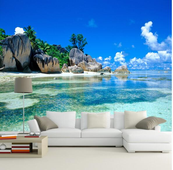 3D photo wallpaper sea landscape wall paper vinyl for TV Background Living Room Wall Decor(China)