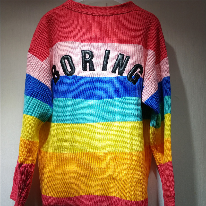 Lazy Oaf Rainbow Cardigan 2018 Autumn And Winter Women Colorful