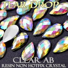 4x6 5x8mm Tear Drop Crystals Nail Art Clear AB Acrylic rhinestones plastic Non Hotfix Flat back glitters for DIY jewelry Stone(China)