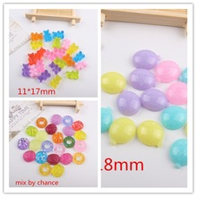 50pcs/lot flat back resin cabochons accessories resin candy mix colors kawaii resin crafts(China)
