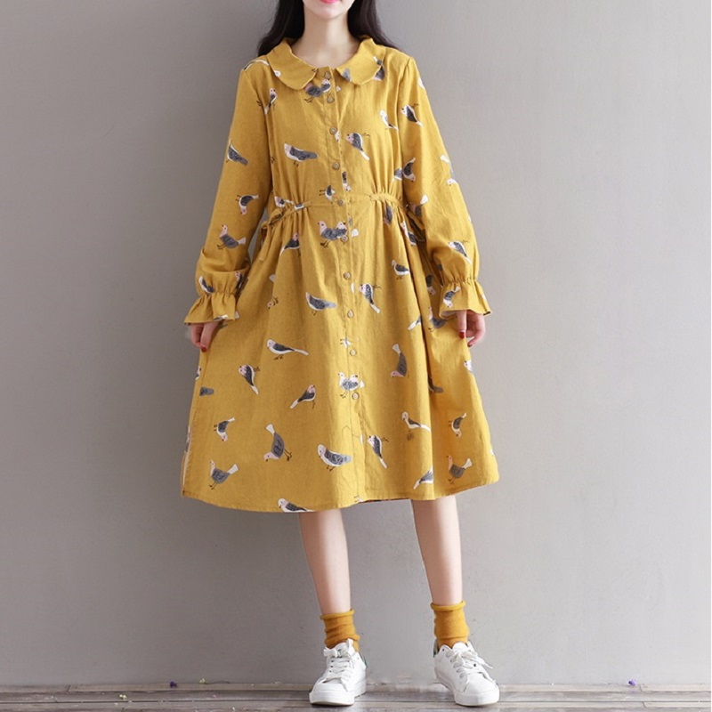 2017 Preppy Style Spring Autumn Women Dress Peter Pan Collar Long Flare Sleeve Printed Female Dress Peter Pan Collar Loose Dress(China (Mainland))