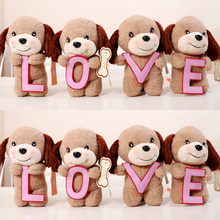 4pcs/Set 20cm Tiny Puppy Simulation Little Dog with Love Letter Stuffed Plush Toy Doll Genuine Lover Gift Baby Toy Kid(China)