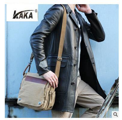 2016 KAKA Luxury Brand New men messenger bags canvas bag Vintage Canvas +Leather satchels mens business Crossbody Shoulder Bag<br>