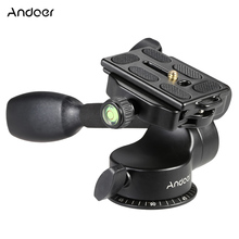 Andoer Q08 Video Tripod Head Ball Head 3-way Fluid Head Rocker Arm With Quick Release Plate For DSLR Camera Tripod Monopod